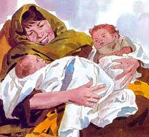 Rebekah with Jacob & Esau